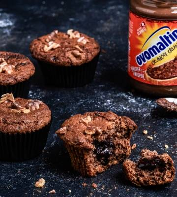 Walnuss-Muffins mit Ovomaltine Crunchy Cream